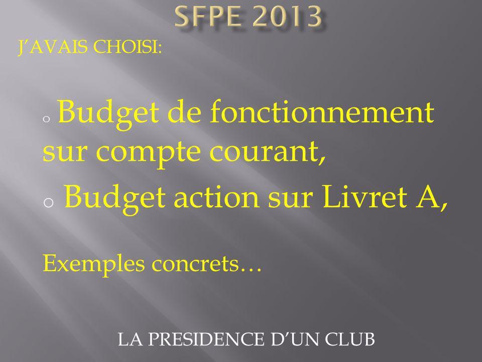 LA PRESIDENCE DUN CLUB JAVAIS CHOISI: o Budget de fonctionnement sur compte courant, o Budget action sur Livret A, Exemples concrets…