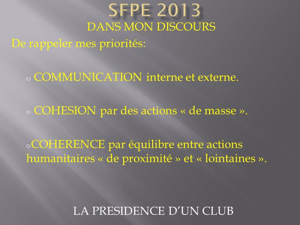 LA PRESIDENCE DUN CLUB DANS MON DISCOURS De rappeler mes priorités: o COMMUNICATION interne et externe. o COHESION par des actions « de masse ». o COH