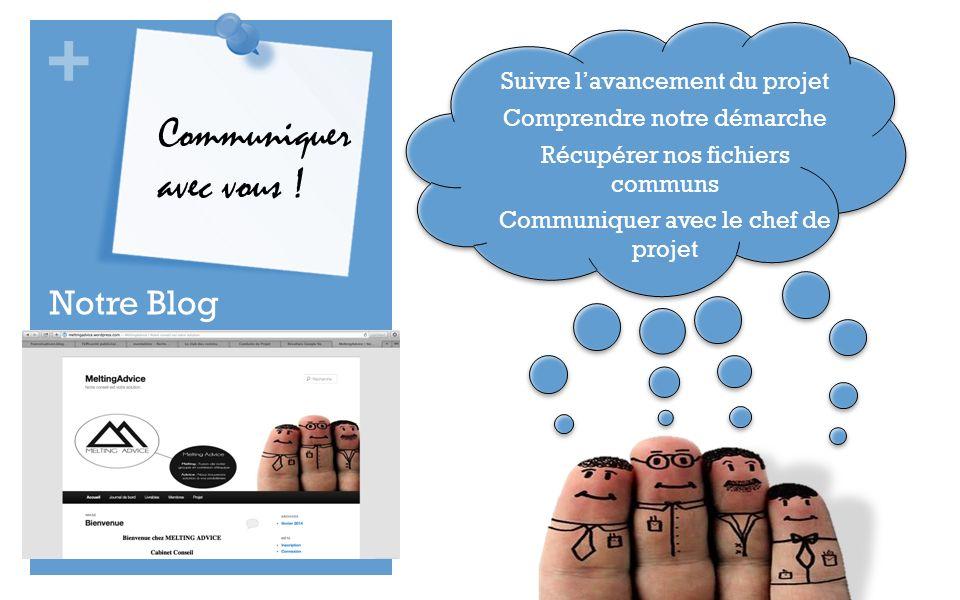 + Notre Blog Communiquer avec vous ! Suivre lavancement du projet Comprendre notre démarche Récupérer nos fichiers communs Communiquer avec le chef de