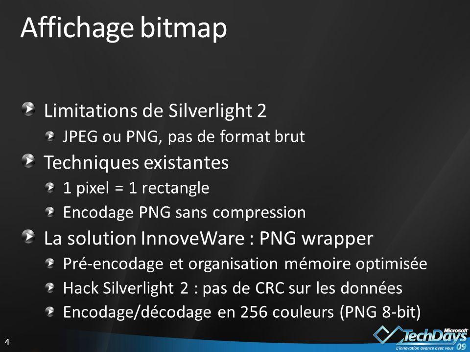 5 PNG wrapper MemoryStream PNG pré-encodée Entête PNG (fixe) LargeurHauteurFlags (PNG 8-bit) Bloc PALETTE RGB(modifiable)RGB(modifiable)...RGB(modifiable) Bloc IMAGE (non compressé) Flags Ligne de pixels (modifiable) CRC 0 (hack)...Flags...