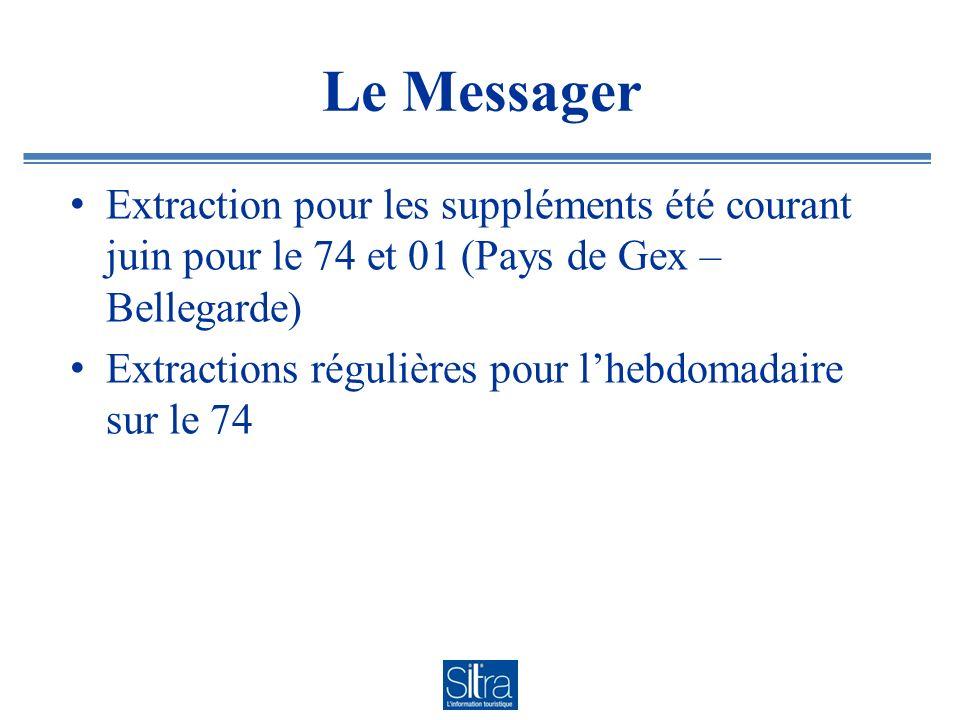 Le Messager Extraction pour les suppléments été courant juin pour le 74 et 01 (Pays de Gex – Bellegarde) Extractions régulières pour lhebdomadaire sur le 74