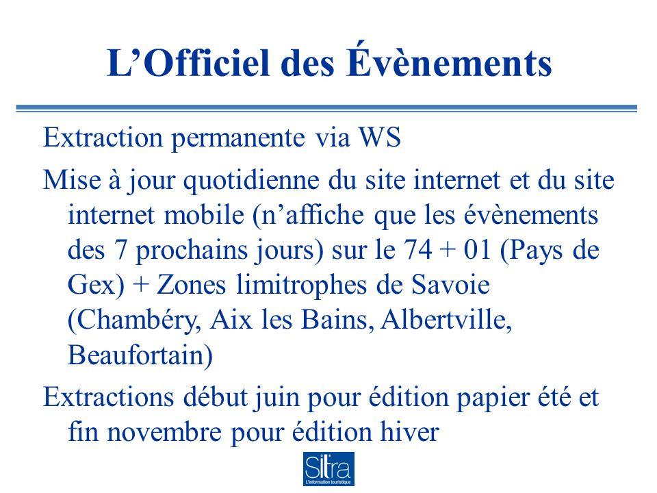 LOfficiel des Évènements Extraction permanente via WS Mise à jour quotidienne du site internet et du site internet mobile (naffiche que les évènements