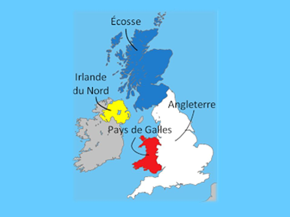 Nous confondons souvent le Royaume-Uni l'Angleterre et la Grande-Bretagne Le Royaume-Uni est un état composé de quatre nations: l'Angleterre, l'Écosse