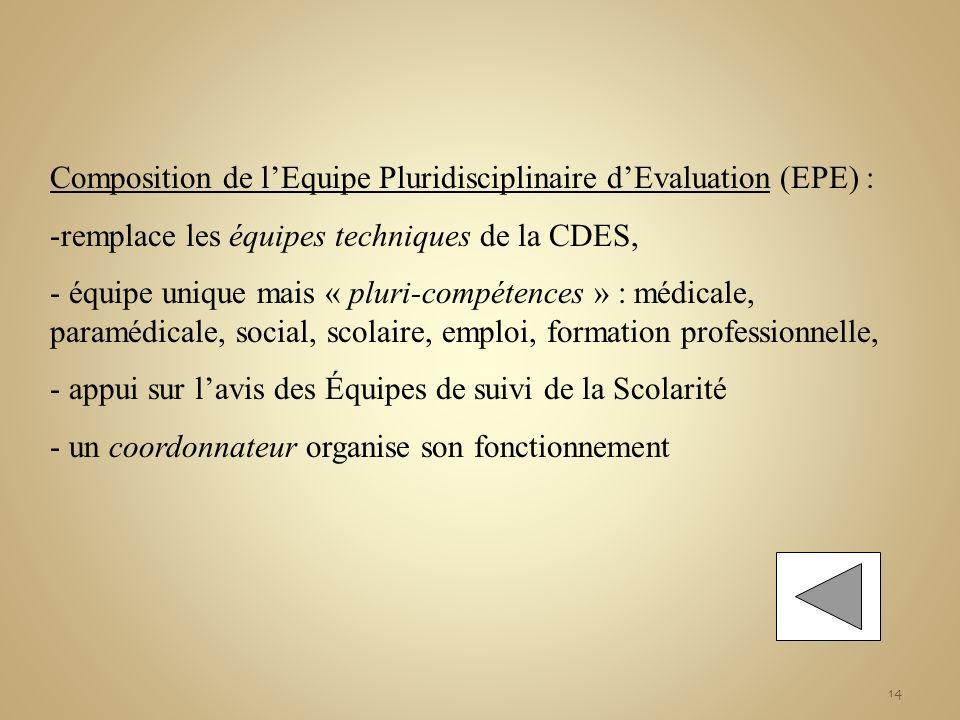 14 Composition de lEquipe Pluridisciplinaire dEvaluation (EPE) : -remplace les équipes techniques de la CDES, - équipe unique mais « pluri-compétences