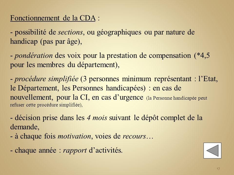 17 Fonctionnement de la CDA : - possibilité de sections, ou géographiques ou par nature de handicap (pas par âge), - pondération des voix pour la pres