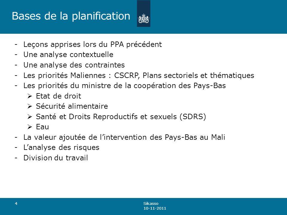 Bases de la planification -Leçons apprises lors du PPA précédent -Une analyse contextuelle -Une analyse des contraintes -Les priorités Maliennes : CSCRP, Plans sectoriels et thématiques -Les priorités du ministre de la coopération des Pays-Bas Etat de droit Sécurité alimentaire Santé et Droits Reproductifs et sexuels (SDRS) Eau -La valeur ajoutée de lintervention des Pays-Bas au Mali -Lanalyse des risques -Division du travail 4 Sikasso 10-11-2011