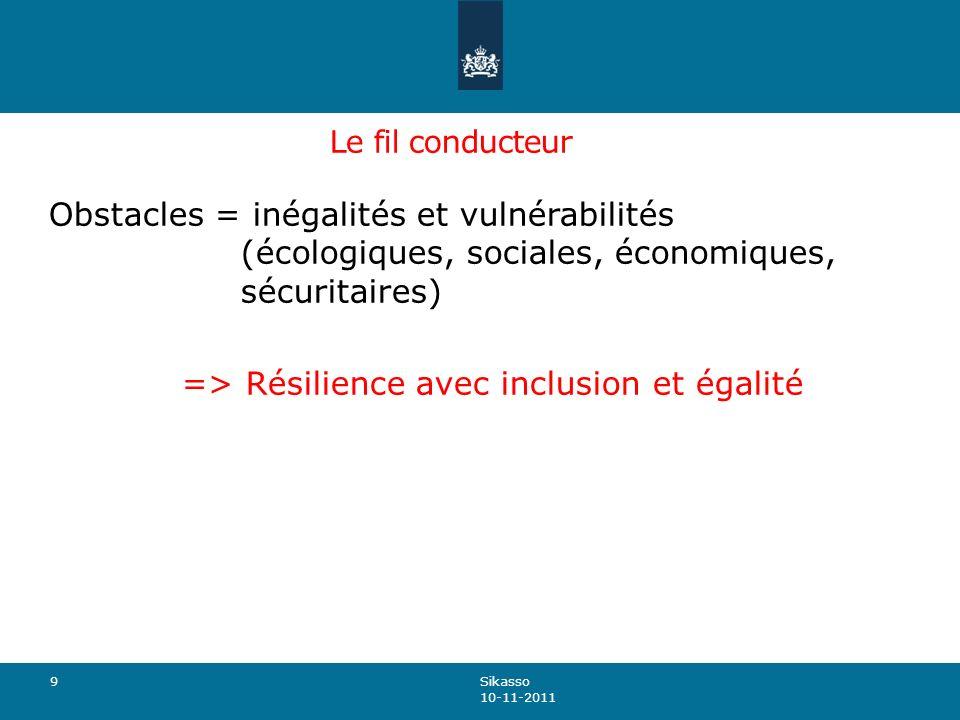 Le fil conducteur Obstacles = inégalités et vulnérabilités (écologiques, sociales, économiques, sécuritaires) => Résilience avec inclusion et égalité 9 Sikasso 10-11-2011