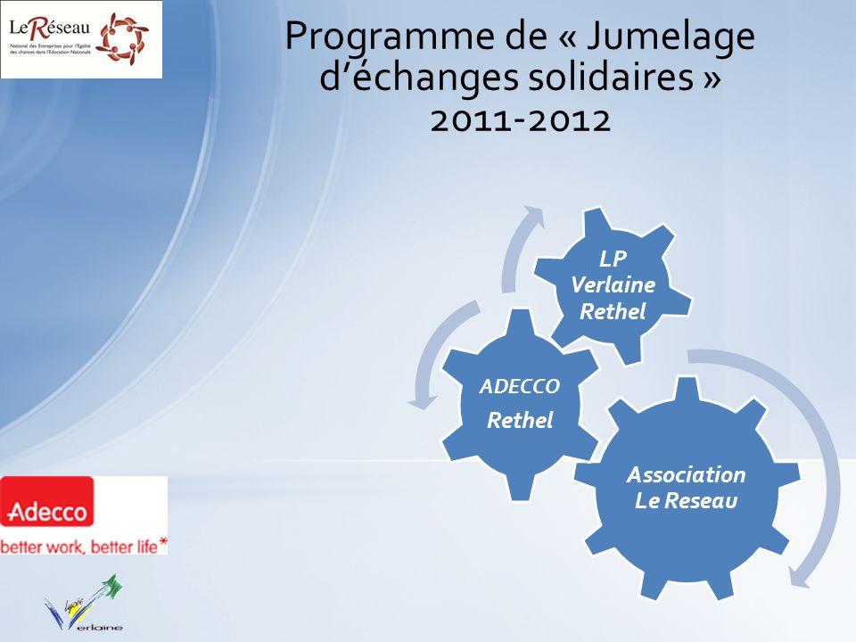 Programme de « Jumelage déchanges solidaires » 2011-2012 Association Le Reseau ADECCO Rethel LP Verlaine Rethel