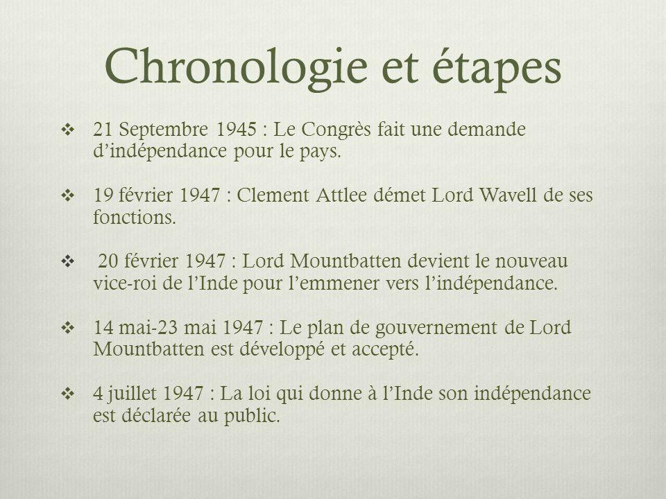Chronologie et étapes 21 Septembre 1945 : Le Congrès fait une demande dindépendance pour le pays. 19 février 1947 : Clement Attlee démet Lord Wavell d