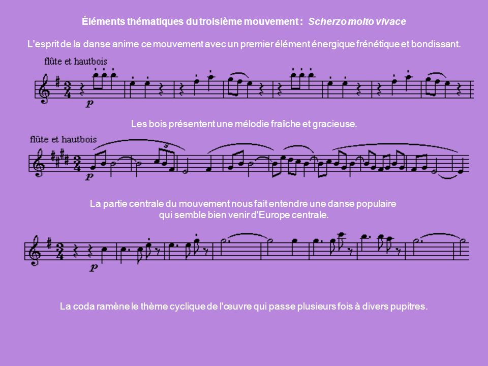 Éléments thématiques du troisième mouvement : Scherzo molto vivace L'esprit de la danse anime ce mouvement avec un premier élément énergique frénétiqu