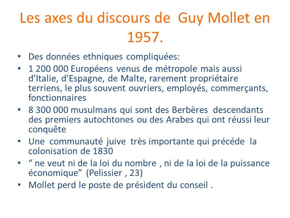 Les axes du discours de Guy Mollet en 1957. Des données ethniques compliquées: 1 200 000 Européens venus de métropole mais aussi dItalie, dEspagne, de