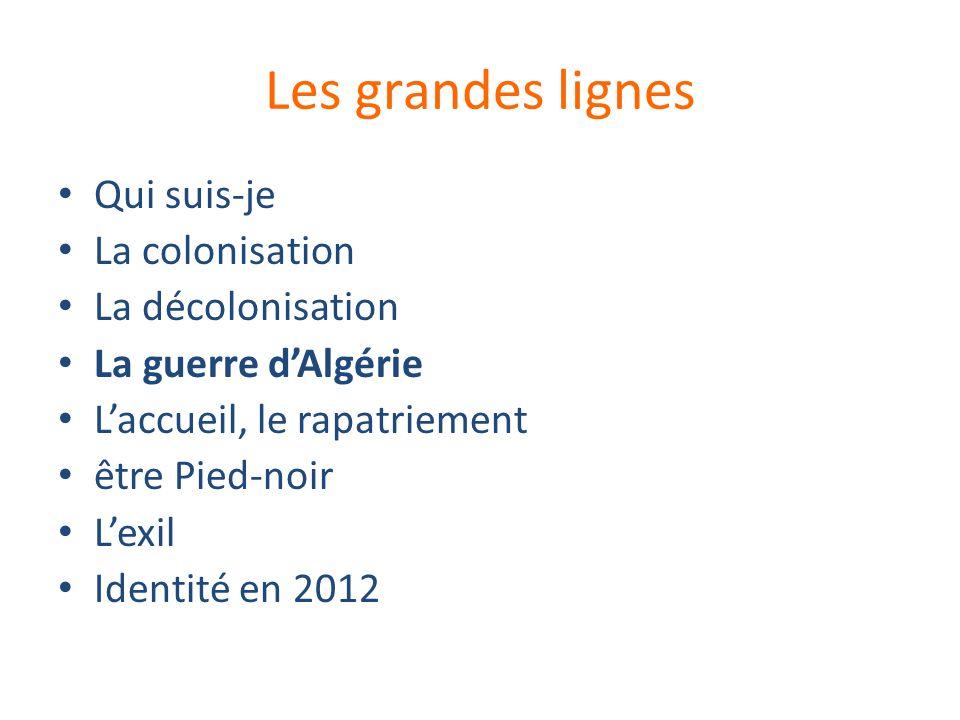 Les grandes lignes Qui suis-je La colonisation La décolonisation La guerre dAlgérie Laccueil, le rapatriement être Pied-noir Lexil Identité en 2012