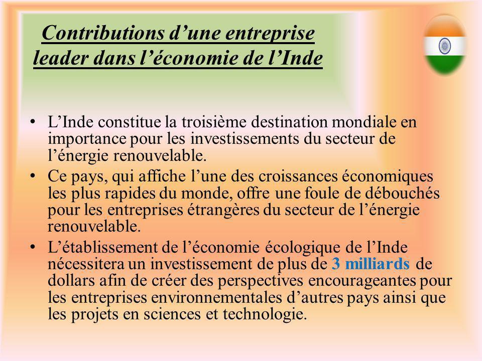 Contributions dune entreprise leader dans léconomie de lInde LInde constitue la troisième destination mondiale en importance pour les investissements du secteur de lénergie renouvelable.