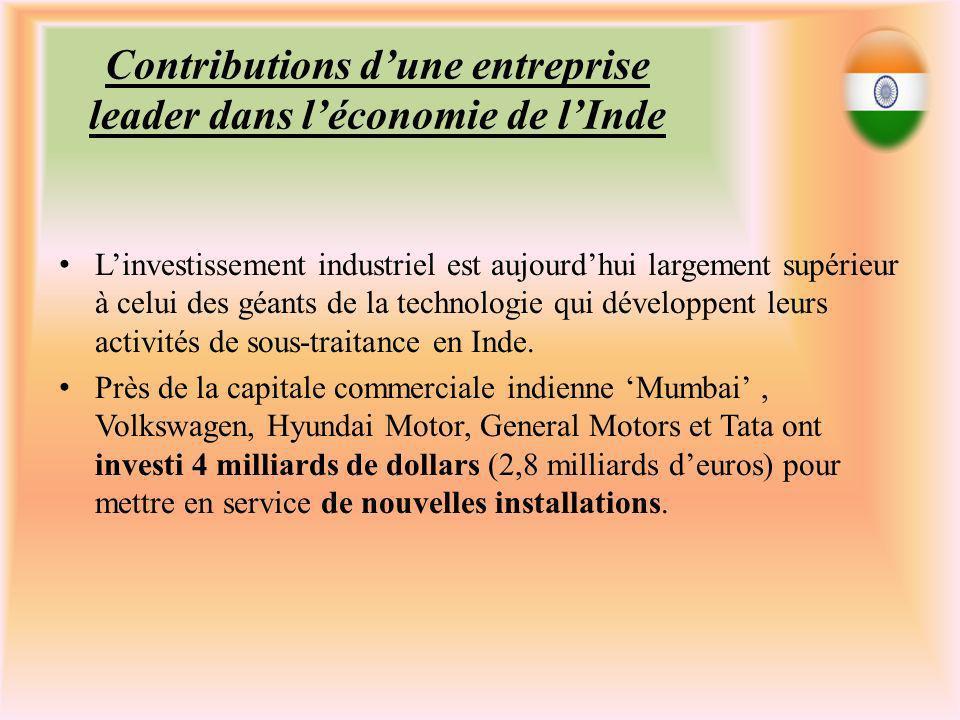 Contributions dune entreprise leader dans léconomie de lInde Linvestissement industriel est aujourdhui largement supérieur à celui des géants de la technologie qui développent leurs activités de sous-traitance en Inde.