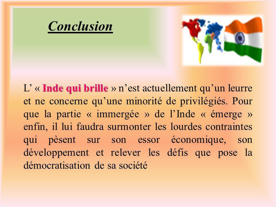 Conclusion Inde qui brille L « Inde qui brille » nest actuellement quun leurre et ne concerne quune minorité de privilégiés.