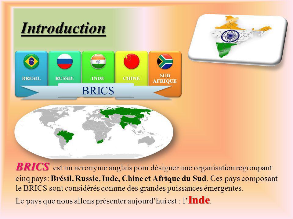Introduction BRICS BRICS est un acronyme anglais pour désigner une organisation regroupant cinq pays: Brésil, Russie, Inde, Chine et Afrique du Sud.