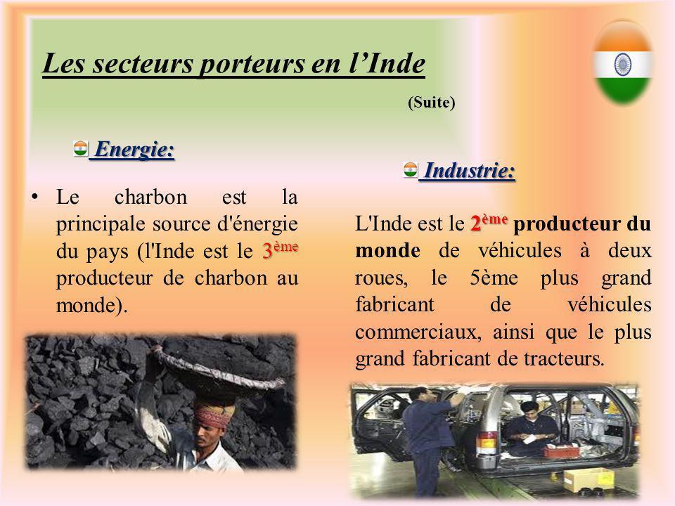 Les secteurs porteurs en lInde 3 ème Le charbon est la principale source d énergie du pays (l Inde est le 3 ème producteur de charbon au monde).
