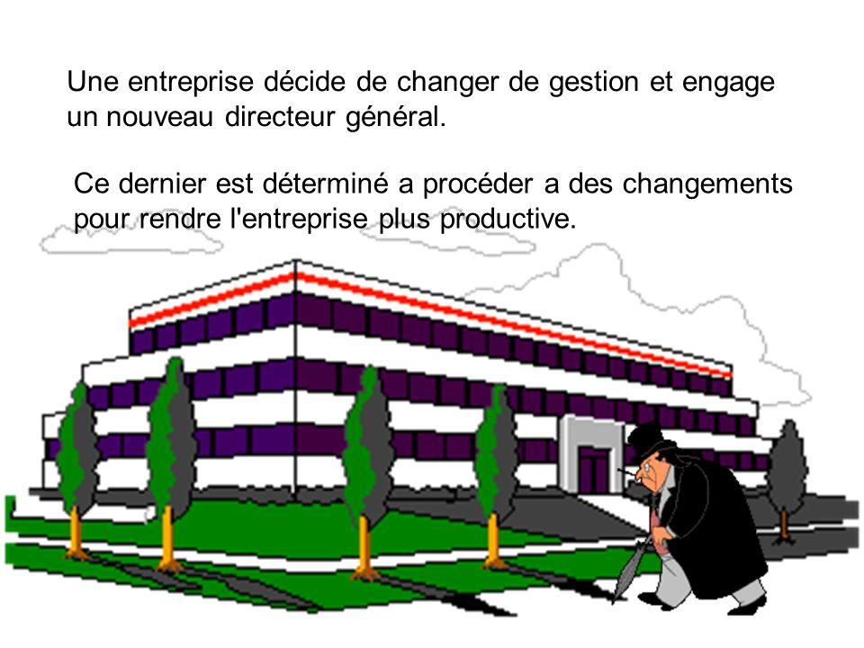 Une entreprise décide de changer de gestion et engage un nouveau directeur général.