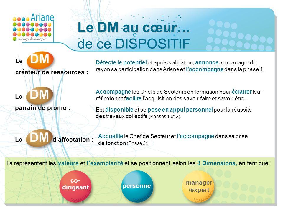 Le DM au cœur… Le DM au cœur… de ce DISPOSITIF Détecte le potentiel et après validation, annonce au manager de rayon sa participation dans Ariane et l