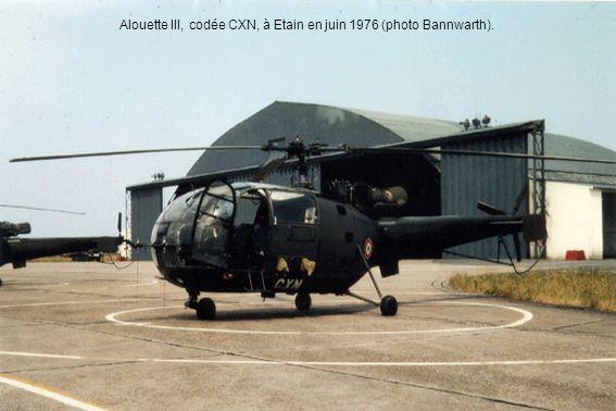 Alouette III, codée CXN, à Etain en juin 1976 (photo Bannwarth).