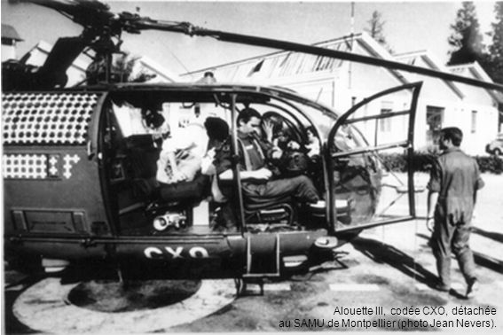 Alouette III, codée CXO, détachée au SAMU de Montpellier (photo Jean Nevers).