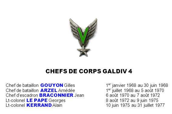 CHEFS DE CORPS GALDIV 4 Chef de bataillon GOUYON Gilles1 er janvier 1968 au 30 juin 1968 Chef de bataillon ARZEL Amédée1 er juillet 1968 au 5 août 197