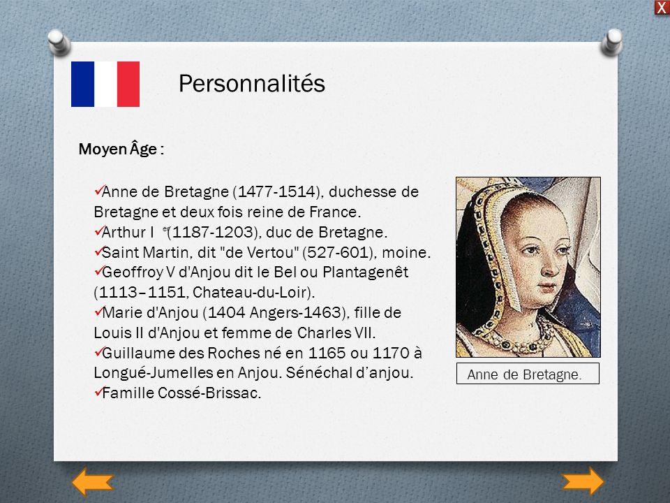 Personnalités X Moyen Âge : Anne de Bretagne (1477-1514), duchesse de Bretagne et deux fois reine de France. Arthur I (1187-1203), duc de Bretagne. Sa
