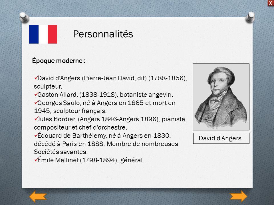 Personnalités X Époque moderne : David d'Angers (Pierre-Jean David, dit) (1788-1856), sculpteur. Gaston Allard, (1838-1918), botaniste angevin. George