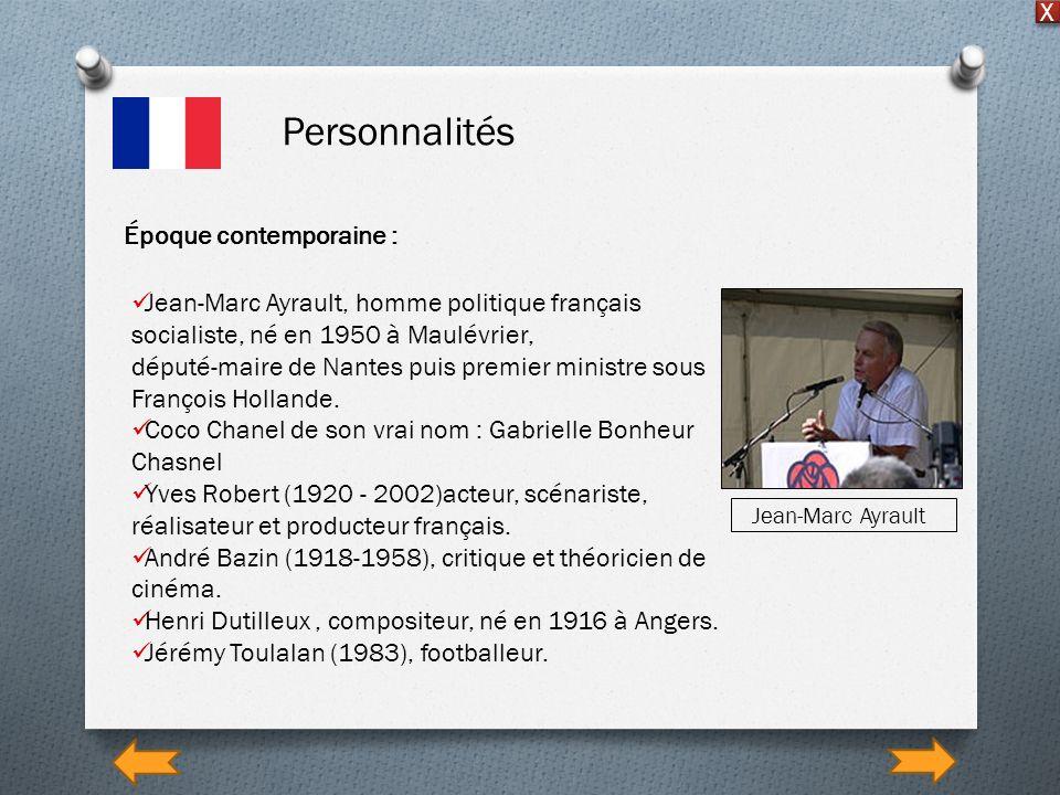 Personnalités X Époque contemporaine : Jean-Marc Ayrault, homme politique français socialiste, né en 1950 à Maulévrier, député-maire de Nantes puis pr