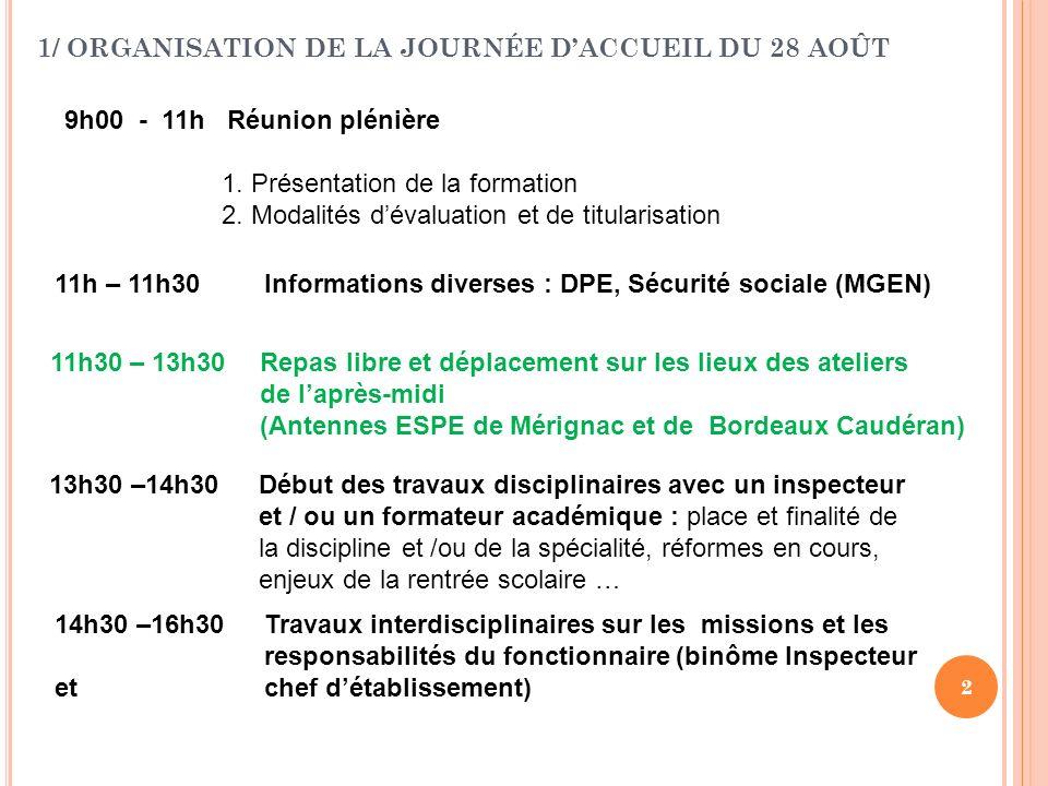 2 1/ ORGANISATION DE LA JOURNÉE DACCUEIL DU 28 AOÛT 9h00 - 11h Réunion plénière 1. Présentation de la formation 2. Modalités dévaluation et de titular
