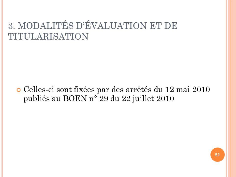 21 3. MODALITÉS DÉVALUATION ET DE TITULARISATION Celles-ci sont fixées par des arrêtés du 12 mai 2010 publiés au BOEN n° 29 du 22 juillet 2010