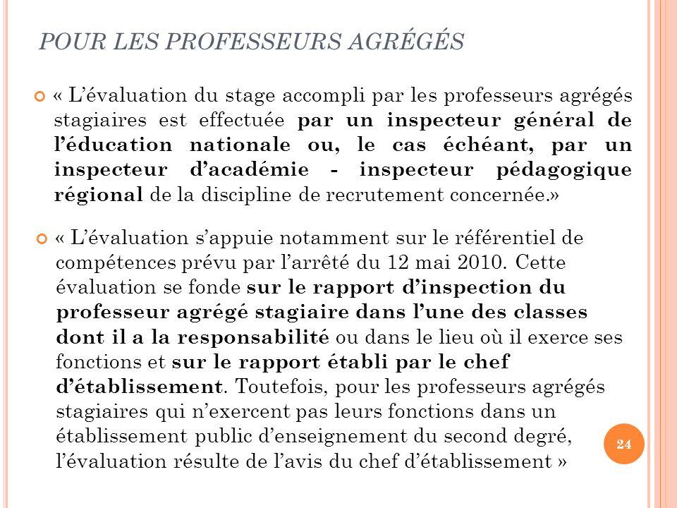 24 POUR LES PROFESSEURS AGRÉGÉS « Lévaluation du stage accompli par les professeurs agrégés stagiaires est effectuée par un inspecteur général de lédu