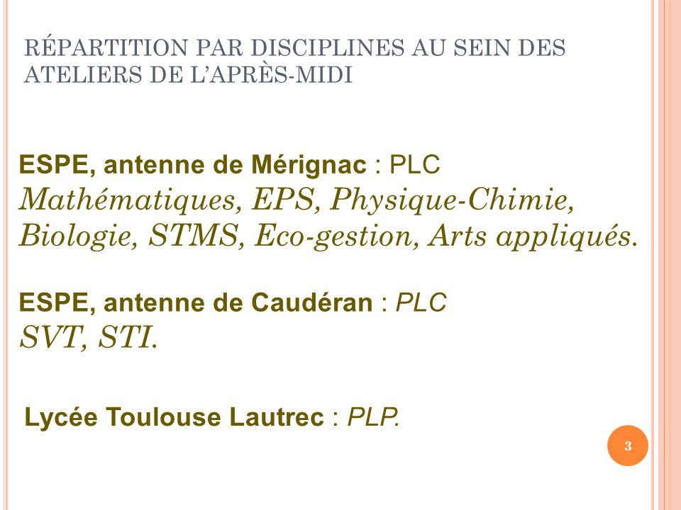 RÉPARTITION PAR DISCIPLINES AU SEIN DES ATELIERS DE LAPRÈS-MIDI 3 ESPE, antenne de Mérignac : PLC Mathématiques, EPS, Physique-Chimie, Biologie, STMS,