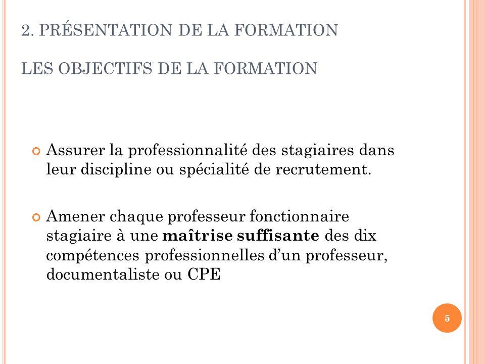 5 2. PRÉSENTATION DE LA FORMATION LES OBJECTIFS DE LA FORMATION Assurer la professionnalité des stagiaires dans leur discipline ou spécialité de recru