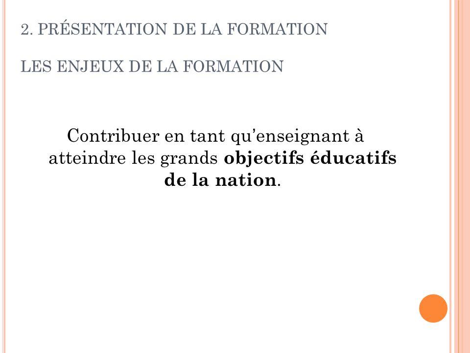 Contribuer en tant quenseignant à atteindre les grands objectifs éducatifs de la nation. 2. PRÉSENTATION DE LA FORMATION LES ENJEUX DE LA FORMATION