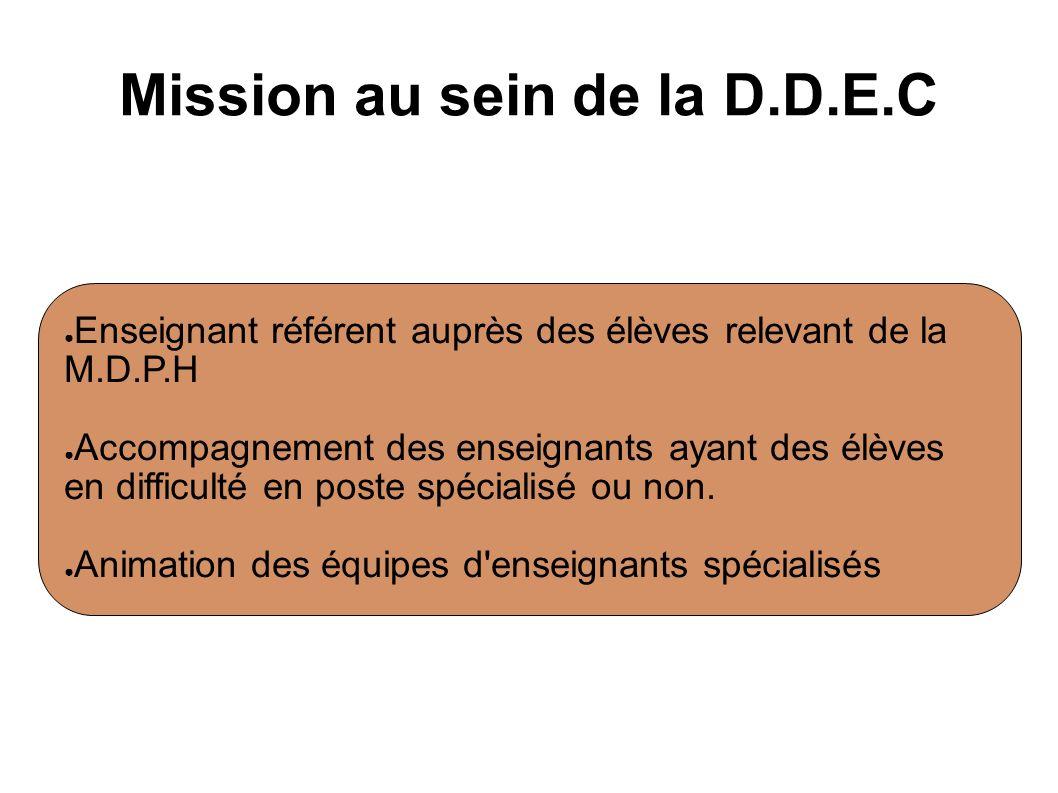 Mission au sein de la D.D.E.C Enseignant référent auprès des élèves relevant de la M.D.P.H Accompagnement des enseignants ayant des élèves en difficul