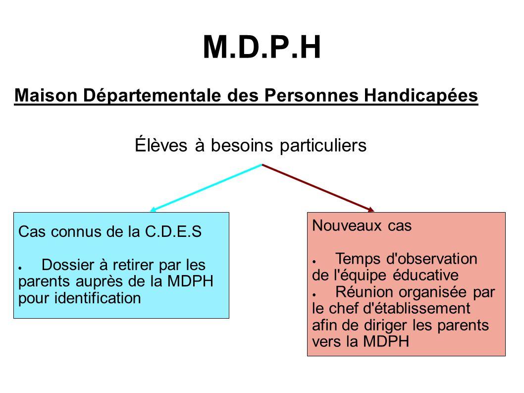 M.D.P.H Maison Départementale des Personnes Handicapées Élèves à besoins particuliers Cas connus de la C.D.E.S Dossier à retirer par les parents auprè
