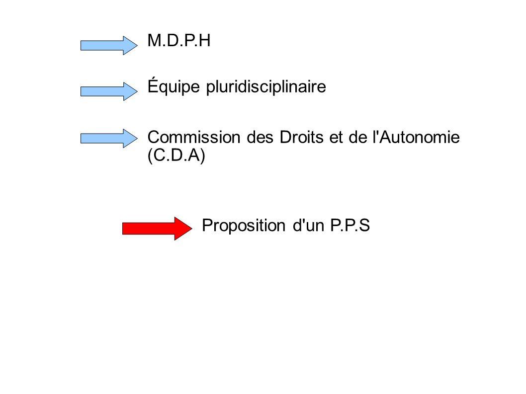 M.D.P.H Équipe pluridisciplinaire Commission des Droits et de l'Autonomie (C.D.A) Proposition d'un P.P.S