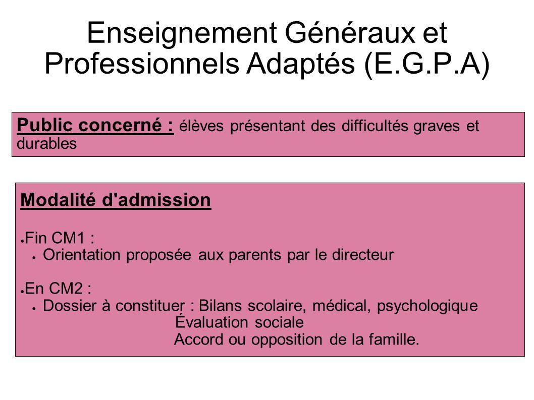 Enseignement Généraux et Professionnels Adaptés (E.G.P.A) Public concerné : élèves présentant des difficultés graves et durables Modalité d'admission