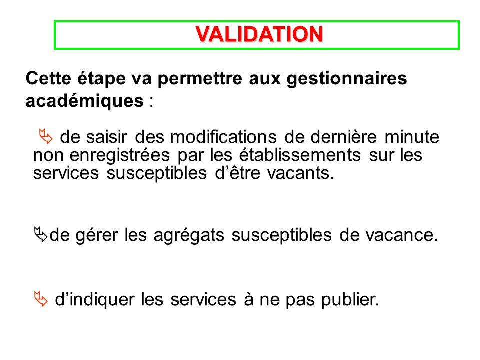VALIDATION VALIDATION de saisir des modifications de dernière minute non enregistrées par les établissements sur les services susceptibles dêtre vacants.