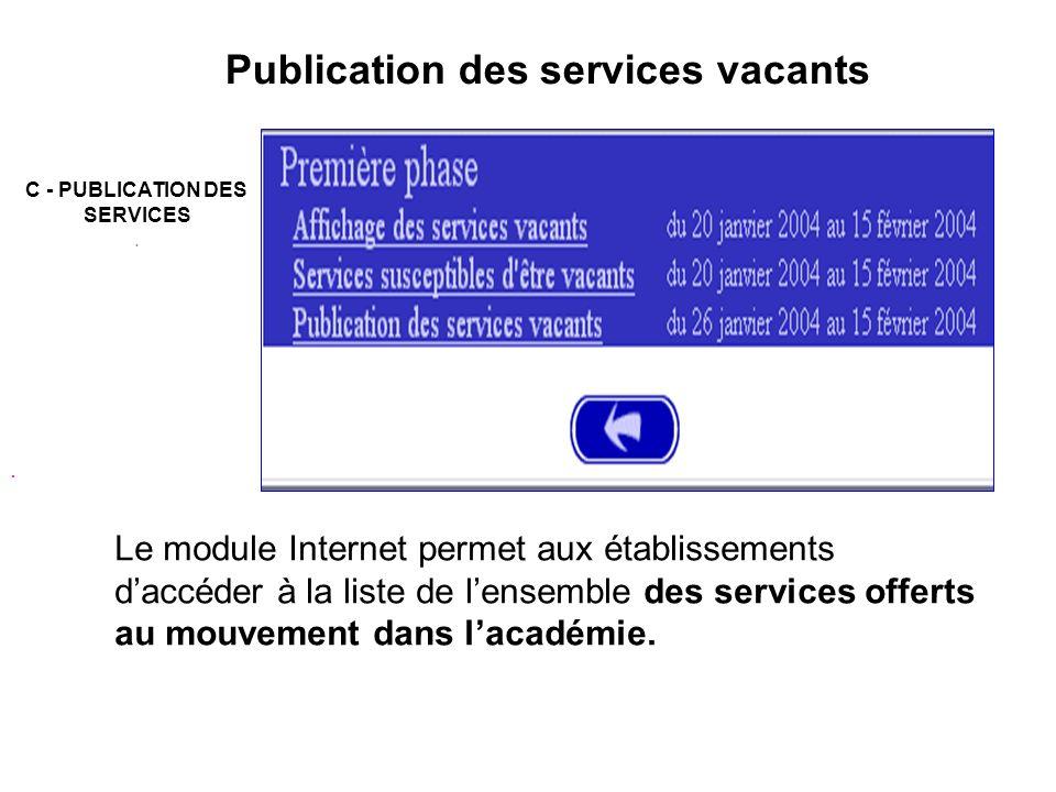 Publication des services vacants Le module Internet permet aux établissements daccéder à la liste de lensemble des services offerts au mouvement dans lacadémie..