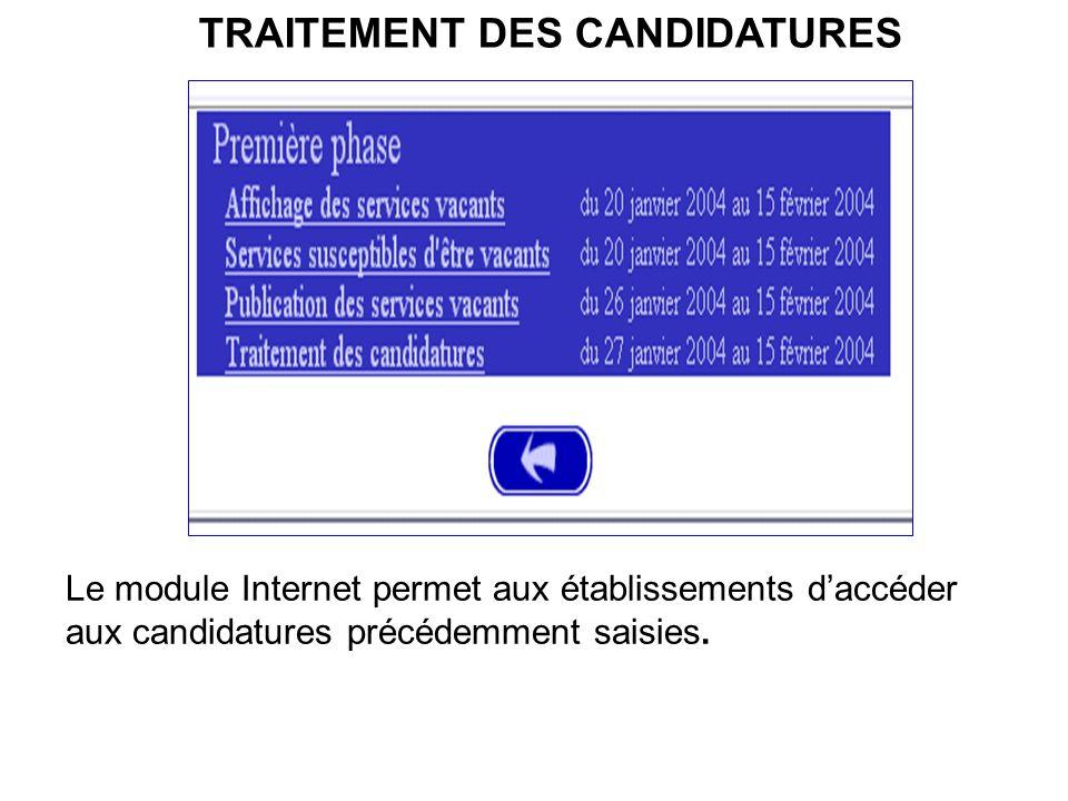 TRAITEMENT DES CANDIDATURES Le module Internet permet aux établissements daccéder aux candidatures précédemment saisies.
