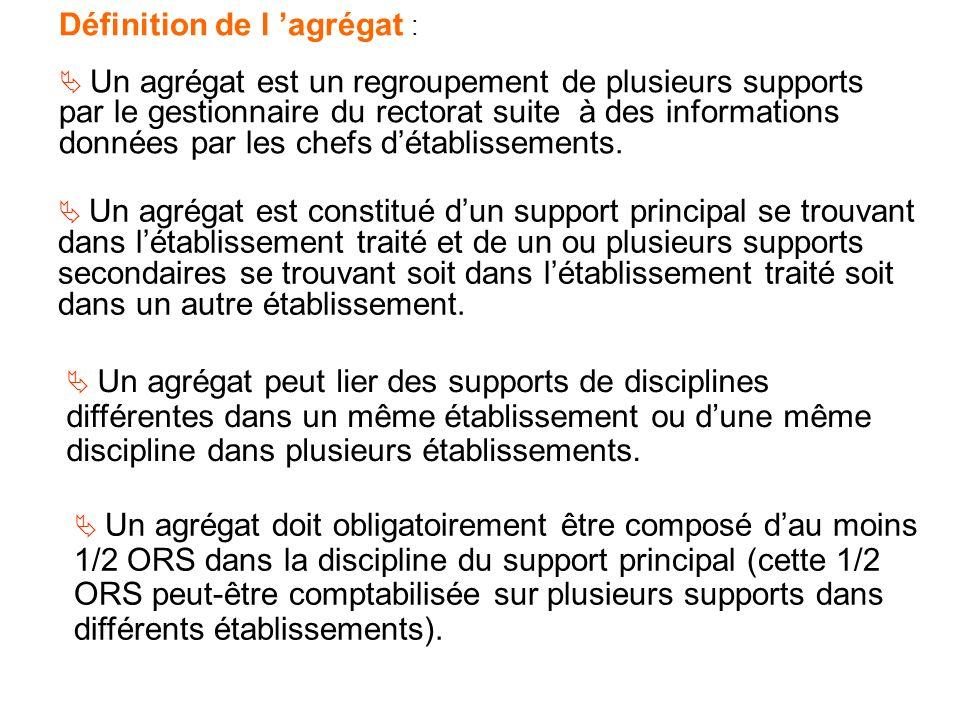 Définition de l agrégat : Un agrégat est un regroupement de plusieurs supports par le gestionnaire du rectorat suite à des informations données par les chefs détablissements.