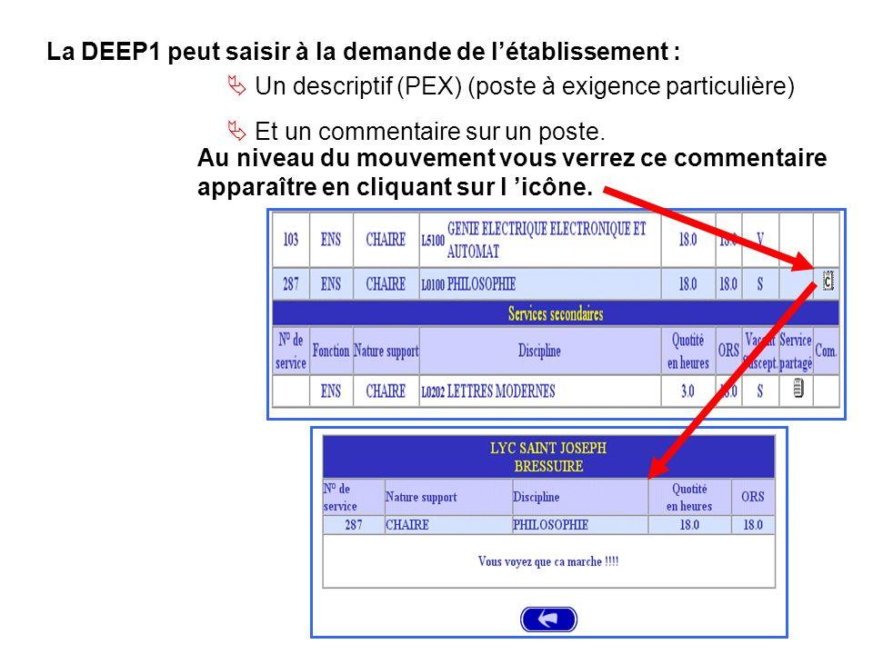 La DEEP1 peut saisir à la demande de létablissement : Au niveau du mouvement vous verrez ce commentaire apparaître en cliquant sur l icône.