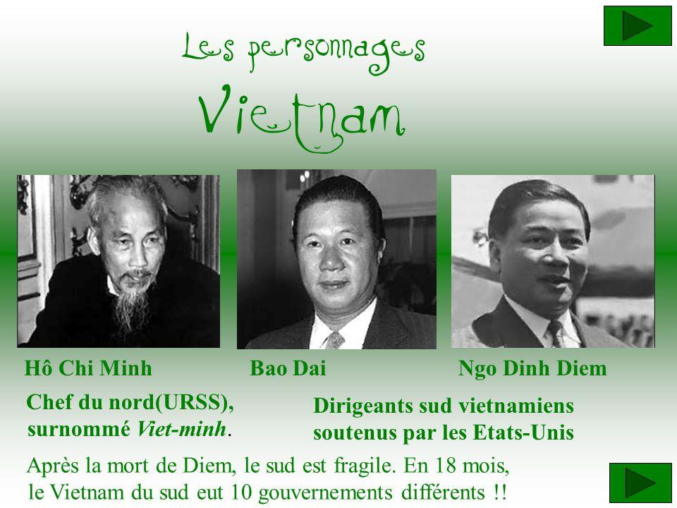 Hô Chi Minh Chef du nord(URSS), surnommé Viet-minh. Ngo Dinh Diem Les personnages Vietnam Bao Dai Après la mort de Diem, le sud est fragile. En 18 moi