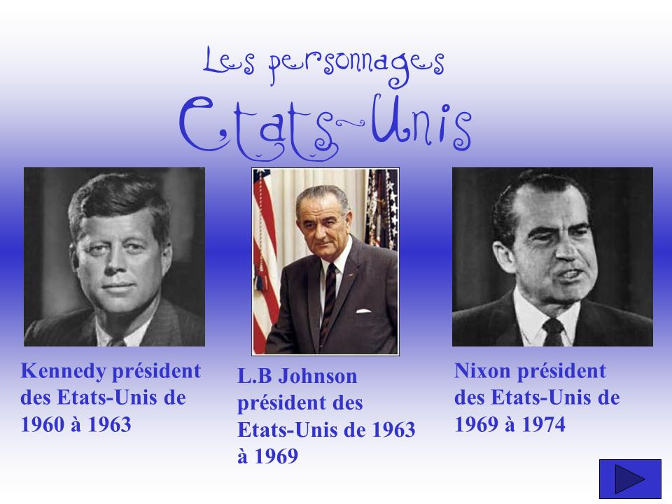 Les personnages Etats-Unis Kennedy président des Etats-Unis de 1960 à 1963 Nixon président des Etats-Unis de 1969 à 1974 L.B Johnson président des Eta