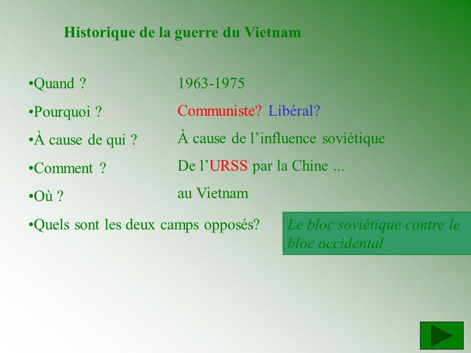 Historique de la guerre du Vietnam Quand ? Pourquoi ? À cause de qui ? Comment ? Où ? Quels sont les deux camps opposés? 1963-1975 Communiste? Libéral