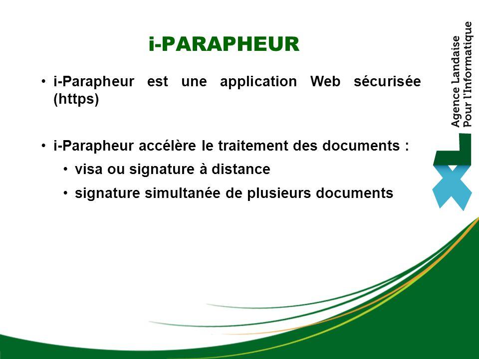 i-Parapheur est une application Web sécurisée (https) i-Parapheur accélère le traitement des documents : visa ou signature à distance signature simult