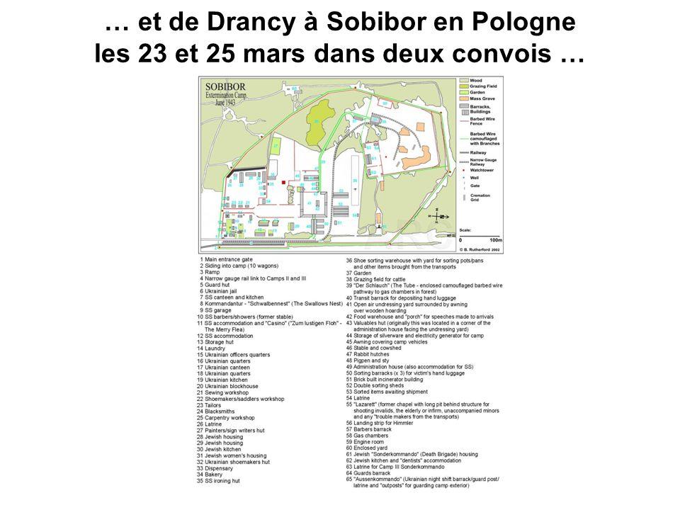 … et de Drancy à Sobibor en Pologne les 23 et 25 mars dans deux convois …