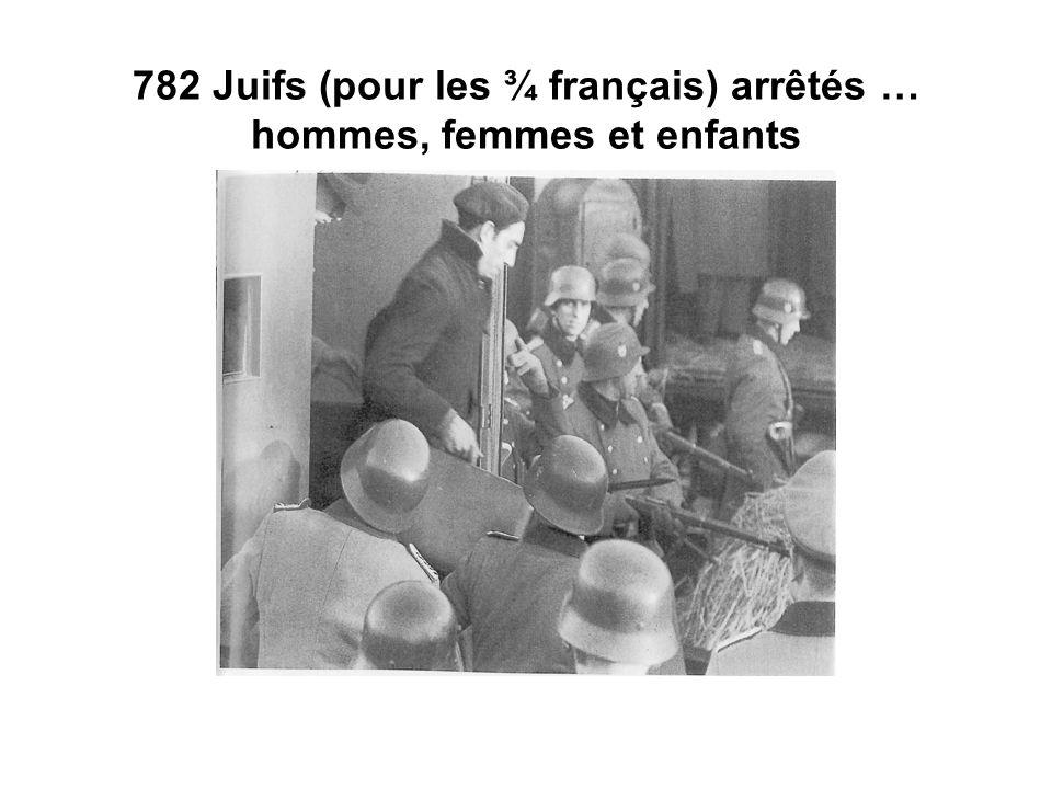 782 Juifs (pour les ¾ français) arrêtés … hommes, femmes et enfants